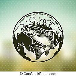 emblémák, halászat, lazac, szüret