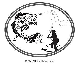 embléma, halászat, basszus