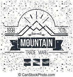 embléma, hegy, retro