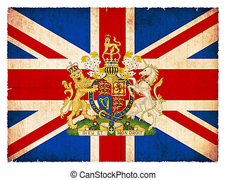 embléma, lobogó, nagy, grunge, britain