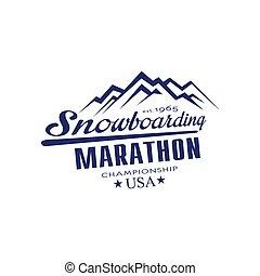 embléma, snowboarding, bajnokság, tervezés, maratoni futás