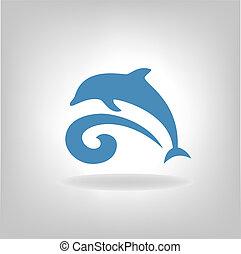 embléma, tenger, felett, delfin