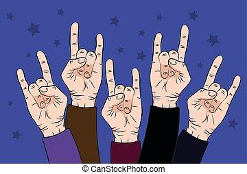 emel, emberek, bíbor, kezezés feláll, ábra, szín, vektor, háttér., kő közös