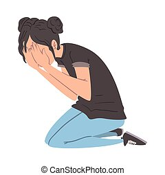 emelet, övé, kézbesít, ábra, ideges, lehangolt, személy bábu, aggodalom, fedő, pánikba ejtett, vagy, térd, neki, arc, ülés, vektor, pánik, hansúlyos, támad