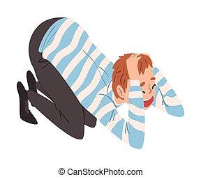 emelet, övé, megfogó, kézbesít, ábra, ideges, lehangolt, személy bábu, aggodalom, pánikba ejtett, vagy, térd, vektor, ülés, pánik, fej, hansúlyos, támad