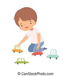 emelet, játékszer, csinos, fiú ül, autók, gyakorlat, elfoglaltság, karikatúra, ábra, kölyök, játék, preschool, napi, vektor