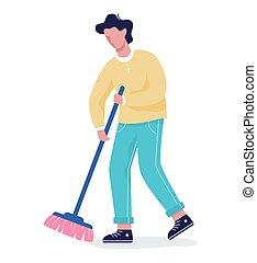emelet, takarítás, ember, házimunka, broom.