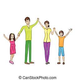 emelt, család, emberek, fegyver feláll, négy, boldog