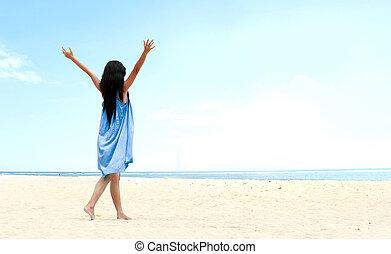 emelt, neki, feláll, kézbesít, leány, tengerpart