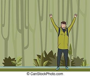 emelt, success., jelkép, fiatal, space., mountaineer., forest., backpacker, vektor, ábra, felfedező, kézbesít, kiránduló, másol, ember, dzsungel