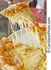 emelt, szelet, margarita, feláll, pizza