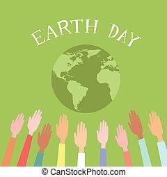 emelt, világ, emberek, földgolyó, feláll, zöld, kézbesít, földdel feltölt nap