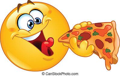 emoticon, eszik pizza