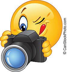 emoticon, fényképezőgép