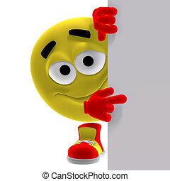 emoticon, furcsa, mond, néz, itt, sárga, friss