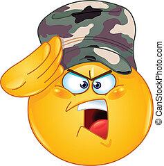 emoticon, katona, tiszteleg