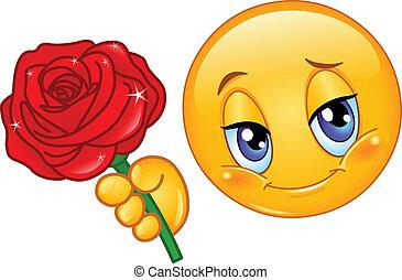 emoticon, rózsa