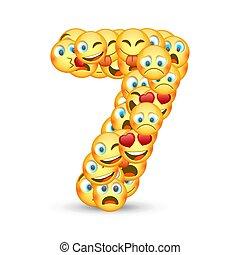 emoticons, állhatatos, szám 7, alakú