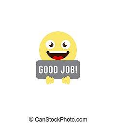 emoticons, jó, jelkép, elszigetelt, munka, vektor, háttér, fehér, ikon