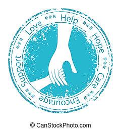 encouragement., eltart, atya, kéz, gyermek, moral.