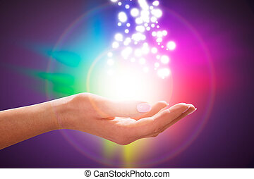 energia, varázslatos, kéz, mező, gyógyulás, személy