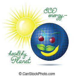 energia, vektor, nap-, ábra