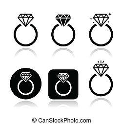 engagement létrafok, vektor, ikon, gyémánt