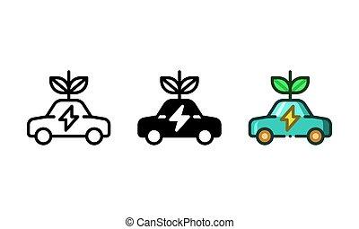 environmentally, ikon, barátságos, autó, elektromos, gépi erejű, előad