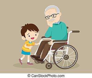 enyhít, unokák, ülés, tolószék, nagyapa, bús