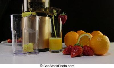 eper, citromnyomó, lé, gyümölcs, friss narancs, használ, masticating, gyártás