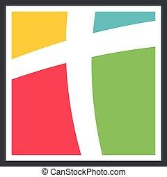 eps, ábra, sablon, design., templom, jel, színes, vektor, 10., kereszt