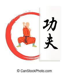 .eps, fu, ábra, hieroglyph., szerzetes, kung, bemutat