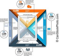 eps10, alkalmazásokat, tabletta, egyszerű, infographics, ábra, dolgozat, számítógép, vektor, háló, mozgatható, társadalmi, divatba jövő, etc., hálózat
