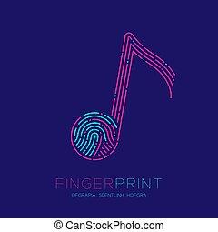 eps10, fürkész, szöveg, aláír, csattanás, ütés, jel, kék, fogalom, motívum, elszigetelt, jegyzet, egyenes, zene, rózsaszínű, editable, zenész, hely, ábra, háttér, ujjlenyomat, ikon, vektor