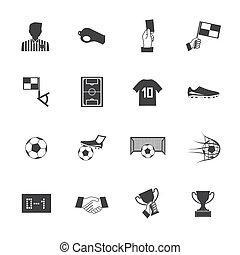 eps10, ikonok, labdarúgás, vektor, fekete, fehér, futball
