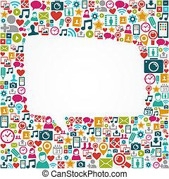 eps10, ikonok, média, alakít, beszéd, társadalmi, fehér, buborék, file.