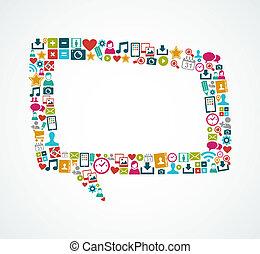 eps10, ikonok, média, elszigetelt, beszéd, társadalmi, buborék, file.