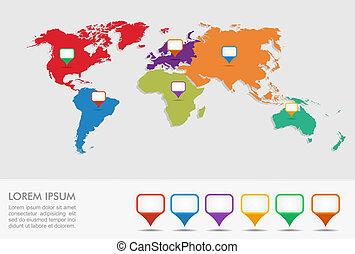 eps10, irányzók, infographics, térkép, világ, helyzet, geo, file.