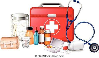 equipments, különböző, orvosi, írógépen ír