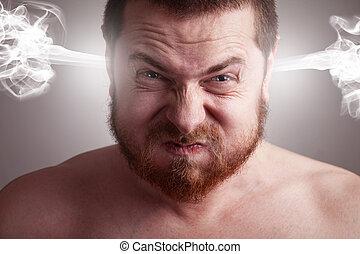 erő, fogalom, mérges, -, fej, kirobbanó, ember