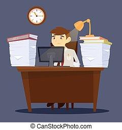 erő, hivatal, work., üres, ábra, elcsépelt, vektor, businessman., life., man.