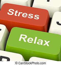 erő, kipiheni magát, kulcsok, munka, kényszer, számítógép, online, vagy, pihenés, látszik