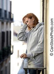erő, nő, szenvedés, bájos, szabadban, depresszió, erkély