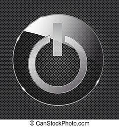 erő, pohár, gombol, fém, ábra, háttér., vektor, ikon