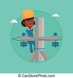 erő, pole., villanyszerelő, elektromos, dolgozó