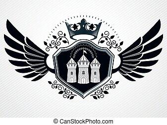 erőd, címertan, kasfogó, embléma, középkori, alkotott, szüret, császári, vektor, tervezés, használ, sas, sablon, crown.