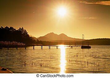 erőd, elhagyatott, színes, sziget, ősz, horizon., parti, wharf., napkelte
