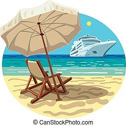 erőforrás, hajó, tengerpart, cirkálás