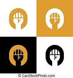 erős, tervezés, jel, ököl, -, chlenched, ikon, jelkép, vektor, öklözik