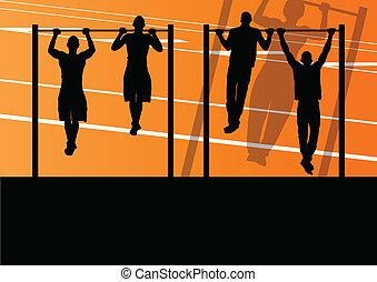 erős, tornaterem, ábra, aktivál, körvonal, vektor, háttér, állóképesség, tol, sport, felemel, ember